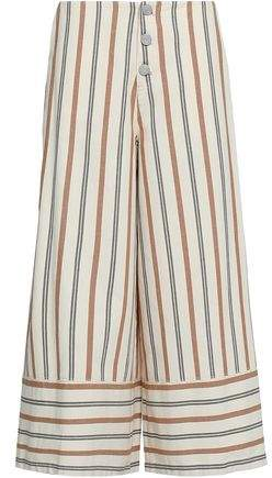 Striped Cotton-Canvas Culottes