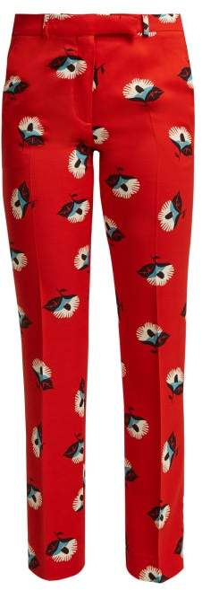 Violante Floral Print Crepe Trousers - Womens - Red Print