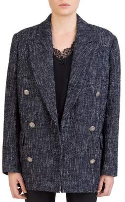 The Kooples Snow Tweed Double-Breasted Blazer