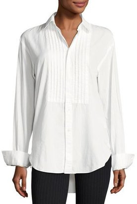 Burberry Jaden Big Shirt with Pintucked Front, White $450 thestylecure.com