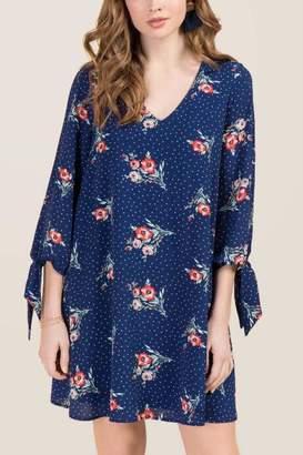 francesca's Autumn Tie Sleeve Floral Dot Shift Dress - Navy