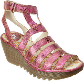Fly London Yeba 895 Leather Wedge Sandal