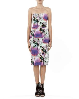 Nicole Miller Blurry Bloom Strapless Dress