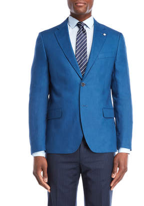 Nautica Medium Blue Briella Linen Suit Jacket