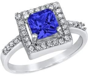 ELYA Sterling Silver Montana Blue Cushion-Cut Cubic Zirconia Halo Ring