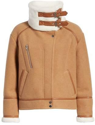 NVLT Melton Faux Fur Faux Leather Trim Felted Jacket
