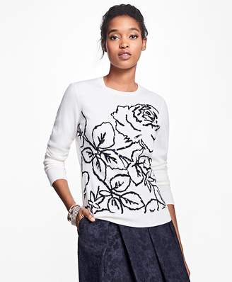 Merino Wool Rose Intarsia Sweater $98 thestylecure.com