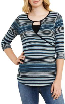 Maternal America Stripe Crossover Maternity/Nursing Top