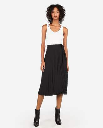 Express High Waisted Sash Tie Pleated Wrap Midi Skirt