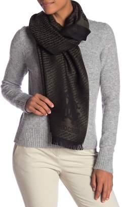 Roberto Cavalli Monogrammed Wool Blend Scarf