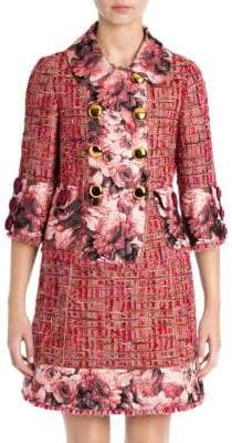 Dolce & Gabbana Floral Jacquard Trim Tweed Jacket