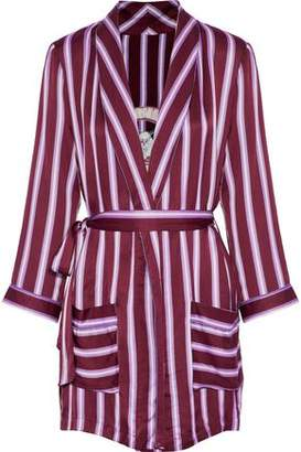 Love Stories Appliquéd Striped Satin Robe