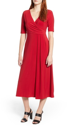 Chaus Laura Faux Wrap Midi Dress