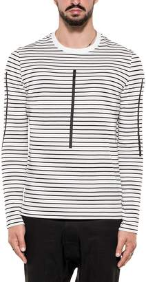 Neil Barrett White/black Striped Cotton Jersey Sweater