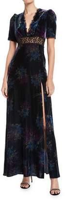 Jill Stuart V-Neck Velvet & Lace Gown
