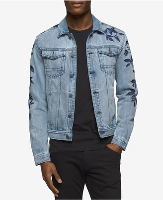 Calvin Klein Jeans Men's Embroidered Leaves Denim Jacket $128 thestylecure.com