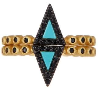 Freida Rothman 14K Yellow Gold Plated Sterling Silver Pave CZ & Turquoise Stacking Ring - Set of 2