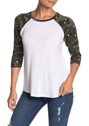 Sweet Romeo Raglan Camo Star Sleeve Baseball T-Shirt
