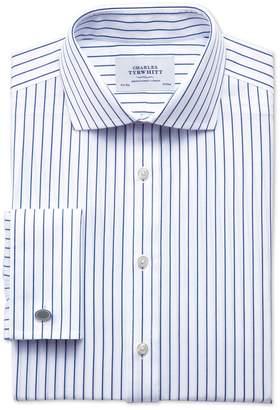 Charles Tyrwhitt Slim Fit Spread Collar Non-Iron Stripe White and Navy Cotton Dress Shirt Single Cuff Size 16.5/33
