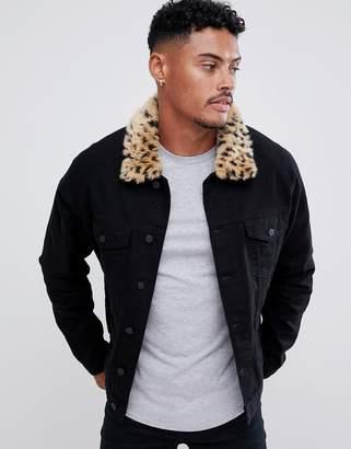 Asos DESIGN denim jacket with leopard print faux fur collar