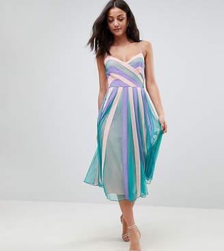 Asos Tall TALL Colourblock Mesh Fit and Flare Midi Dress