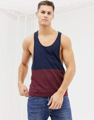 Asos Design DESIGN extreme racer back tank with contrast yoke in burgundy