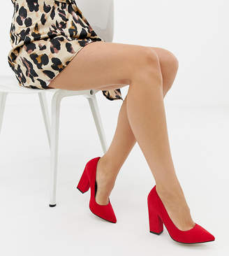 Asos DESIGN Wide Fit Washington block heeled pumps in red