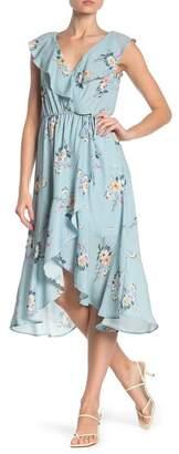Socialite Ruffle Wrap Hi-Lo Midi Dress