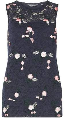Dorothy Perkins Womens **Tall Navy Embroidered Lace Shell Top
