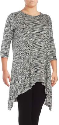Max Studio Women's Hanky Space-Dye Asymmetric Tunic - Ivory Black, Size 1x (14-16)