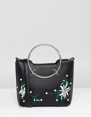Park Lane Embroidered Floral Across Body Bag With Hardware Handle