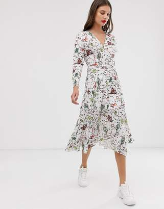 Asos Cactus Print Wrap Midi Dress