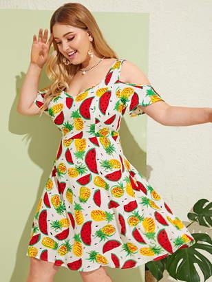Shein Plus Cold Shoulder Fruit Print Dress