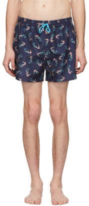 Paul Smith Navy Seahorse Swim Shorts