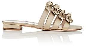 Barneys New York Women's Bow-Embellished Satin Slide Sandals-Sand