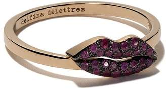 Delfina Delettrez 18kt yellow gold Kiss Me Ruby ring