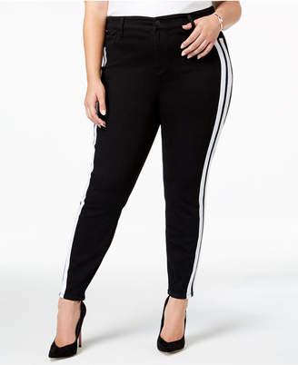 Celebrity Pink Trendy Plus Size Varsity Stripe Black Skinny Jeans