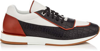Jimmy Choo JETT White, Black and Oxid Sport Calf Low Top Trainers with Crocodile Print Brushed Leather