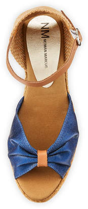 Neiman Marcus Tirana Metallic Leather Espadrille