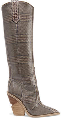 Fendi Prince Of Wales Checked Coated-canvas Knee Boots - Stone