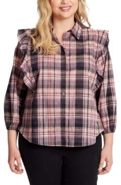 Jessica Simpson Trendy Plus Size Sadie Double-Ruffle Plaid Button-Front Top