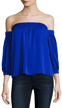 Milly Off-the-Shoulder Stretch-Silk Blouse $320 thestylecure.com