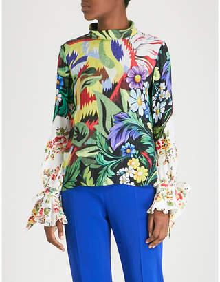 Mary Katrantzou Frida tie-sleeve printed crepe shirt