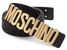 Moschino Men's Glitter Leather Logo Belt