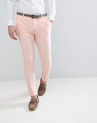 Asos Wedding Super Skinny Fit Suit Pants In Pale Peach