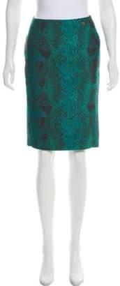 Versace Knee-Length Jacquard Skirt Teal Knee-Length Jacquard Skirt