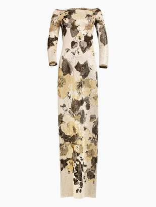 St. John Gold Leaf Jacquard Knit Gown