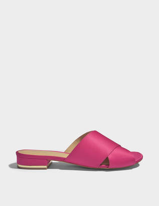 MICHAEL Michael Kors Shelly Cross Front Slide Shoes in Ultra Pink Satin