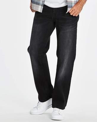 Jacamo Stretch Loose Black Jeans 29 in