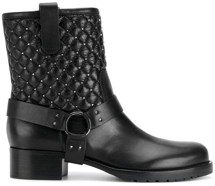 Valentino Black Leather quilted biker boots